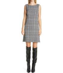 women's st. john collection prince of wales plaid knit shift dress, size 8 - ivory
