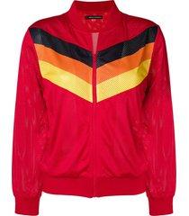 perfect moment jaqueta de rede com estampa zig zag - vermelho