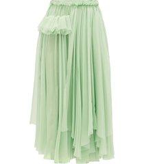 ruffle-trimmed silk-chiffon skirt