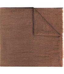 brunello cucinelli lightweight frayed-edge scarf - brown