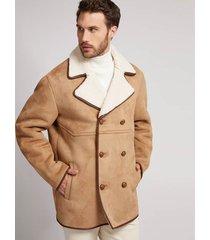 dwurzędowy płaszcz z efektem zamszu
