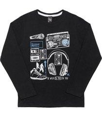 camiseta livy inverno music preto