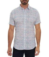 men's robert graham newland short sleeve linen blend button-up shirt, size small - white