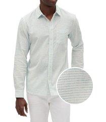 camisa lino blend verde gap