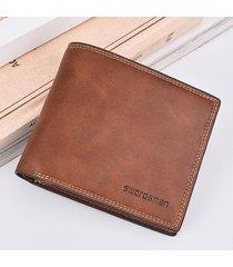 uomo vintage portafoglio corto multifunzionale con card slots