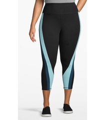 lane bryant women's active capri legging - colorblock twist 26/28 black/blue