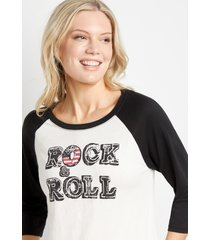 maurices womens white rock & roll baseball graphic tee