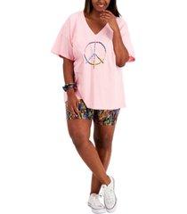 full circle trends plus trendy graphic t-shirt & bike shorts set