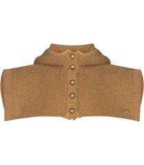paco rabanne wool hooded scarf - brown