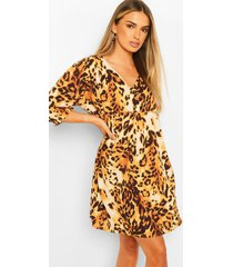 animal print horn button through smock dress, brown