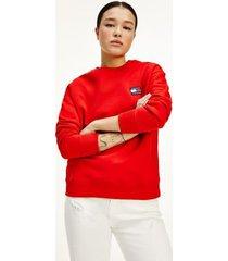 tommy hilfiger women's organic cotton tommy badge sweatshirt deep crimson - xl