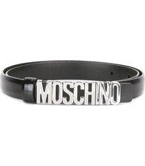 moschino slim logo plaque belt - black