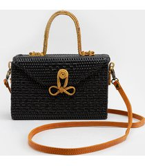 women's erin rattan top handle satchel in black by francesca's - size: one size