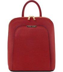 tuscany leather tl141631 tl bag - zaino donna in pelle saffiano rosso