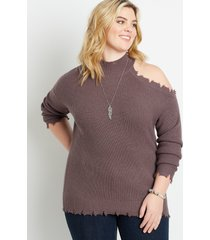 maurices plus size womens destructed asymmetrical cold shoulder pullover sweater purple