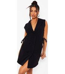 getailleerde blazer jurk met uitsnijding en veters, black