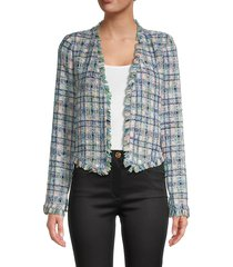 dolce cabo women's fringed open-front tweed jacket - aqua peach - size m