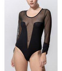 body's luna grace bodysuit met lange mouwen in zwart splendida