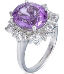 pink amethyst (4 ct. t.w.) & white topaz (1 ct. t.w.) statement ring in sterling silver