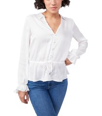 women's paige kendalle tie waist peplum top, size x-small - white