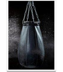 quadro oppen house 60x40cm boxe esporte treino saco de pancada moldura branca s/vidro
