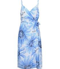 abo giant daisy knee wrp slp drs knälång klänning blå tommy hilfiger