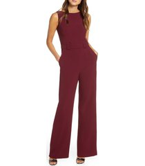women's vince camuto belted sleeveless stretch crepe jumpsuit