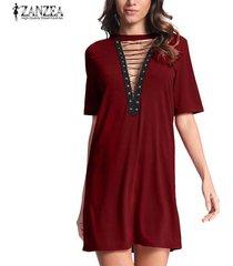 zanzea mujeres gargantilla profundo escote en v de encaje camisa sueltos vestido del vendaje de bodycon del mini vestido de fiesta -rojo