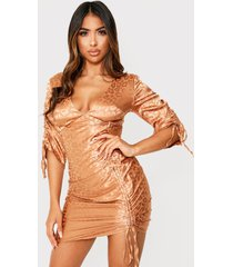 leopard satin ruched front dress, gold