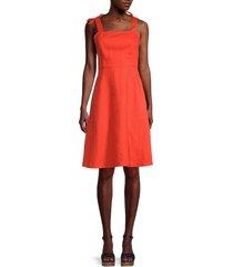 saks fifth avenue women's tie-shoulder linen dress - red - size xl