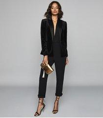reiss jess - slim fit satin trim trousers in black, womens, size 10