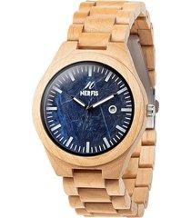reloj madera maple y mármol blue nerfis
