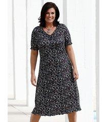 jersey jurk m. collection zwart::paars::petrol