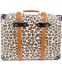charlotte olympia globe-trotter leopard print trolley suitcase