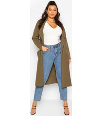 plus belted waterfall duster coat, khaki