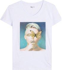 camiseta mujer mariposa color blanco, tallal