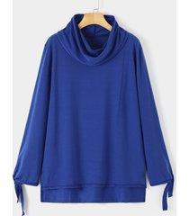 atado informal de jersey en los puños capucha