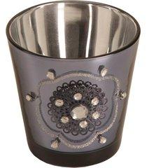 candelabro de vidro com miçanga grey
