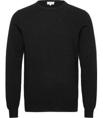 man o-neck plain stickad tröja m. rund krage svart davida cashmere