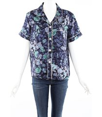 burberry blue multicolor floral print silk short sleeve top blue/multicolor sz: s