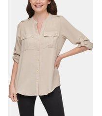 calvin klein textured roll-tab blouse
