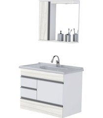 kit gabinete + espelheira para banheiro 79,5cm mdp módena suspenso palissandro ártico com pia - rorato - rorato