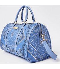 river island womens blue ri bandana print barrel bag