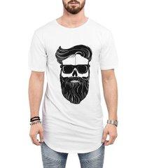 camiseta criativa urbana long line oversized estilo barbearia homem barba óculos caveira