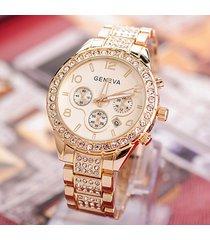 geneva women watch fashion luxury rhinestone full stainless steel quartz wrist w