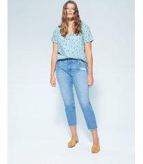 blouse met print en borstzakken
