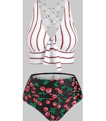 plus size stripe cherry print crisscross tankini swimwear