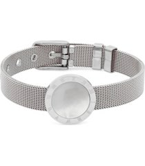 steeltime ladies stainless steel mesh adjustable bracelet with roman numeral accents