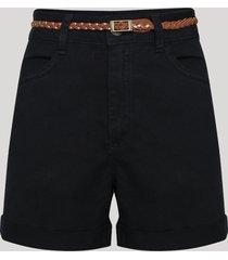 bermuda de sarja feminina cintura alta com cinto preto