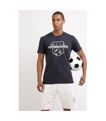 "camiseta masculina esporte ace futebol brazil soccer"" manga curta gola careca azul marinho"""
